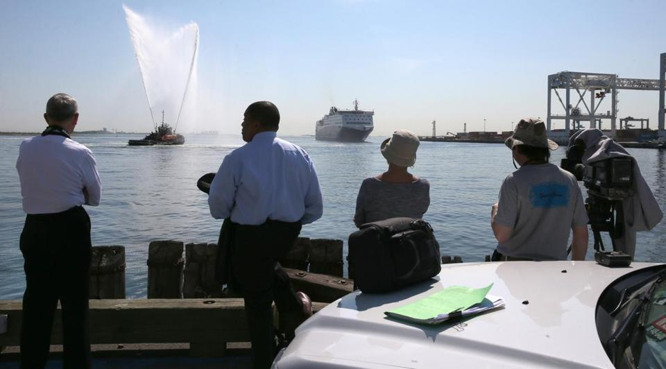 Observers watched as the Nova Star arrived at Black Falcon Pier in Boston.